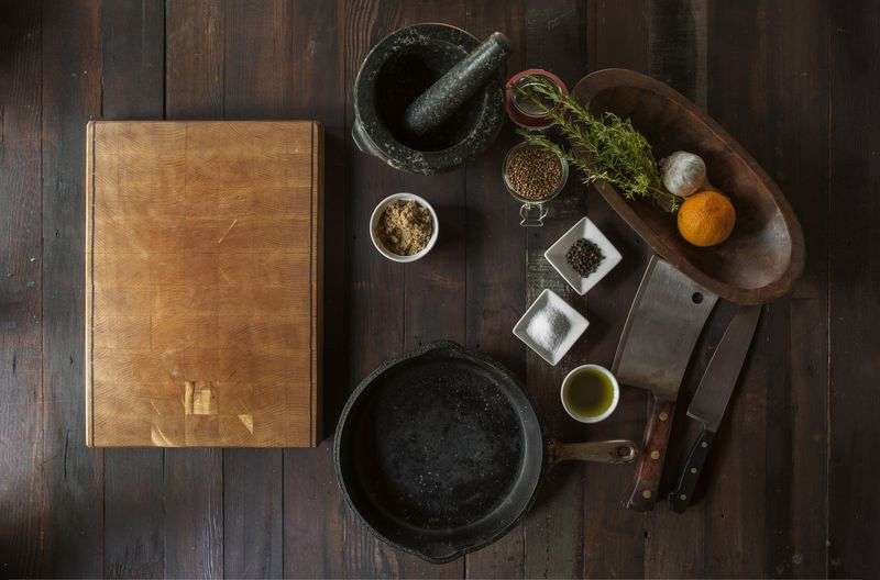 Photo of Ingredients and Utensils on a Wooden Table