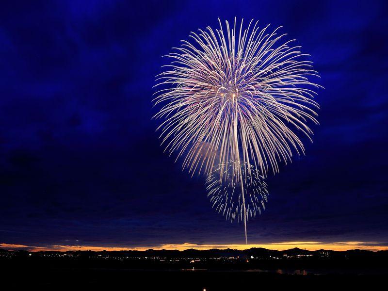 Photo of Fireworks Bursting in Sky over Land