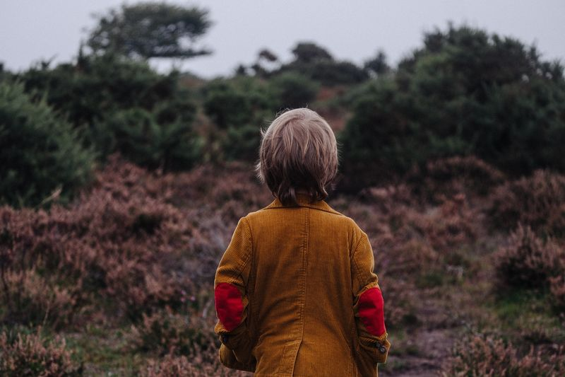 Photo of Child Looking at Trees