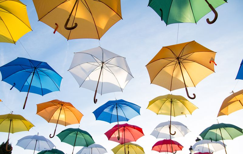 Photo of Colorful Umbrellas in Sky