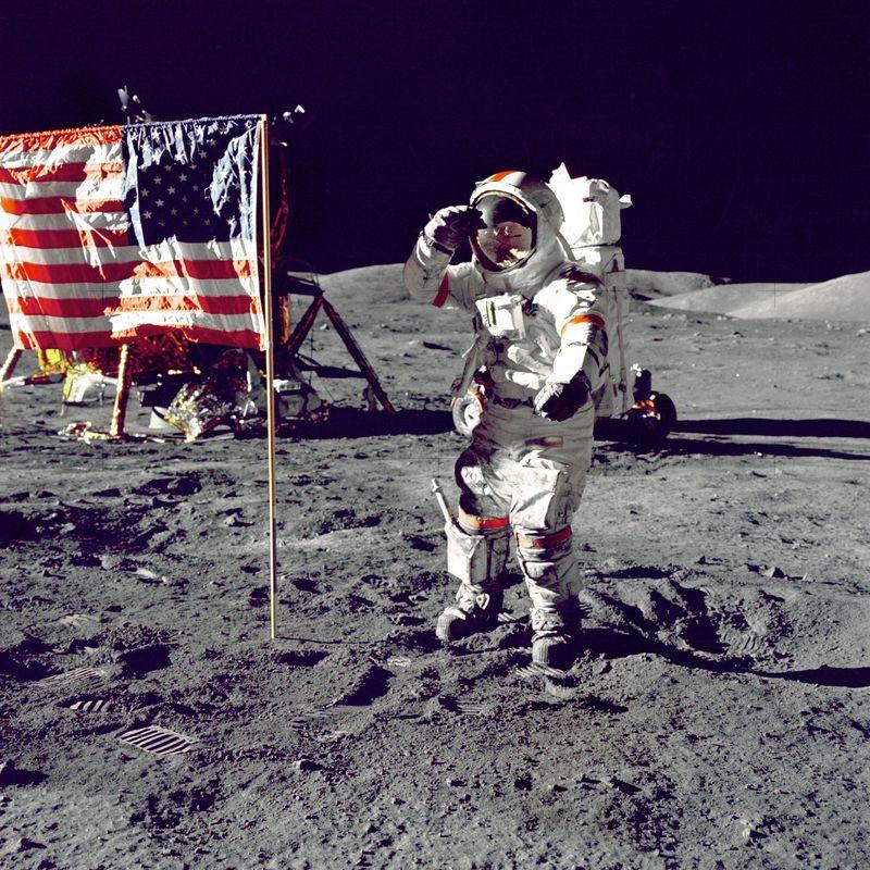 Photo of Astronaut at Mare Serenitatis on Moon