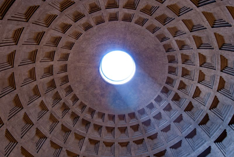 Photo of Pantheon's Dome Ceiling with Sun Rays