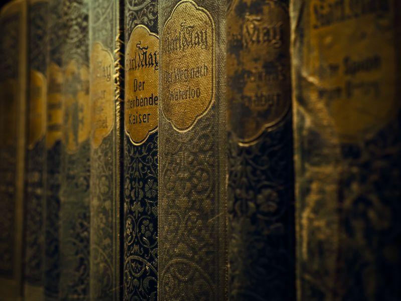 Photo of Vintage Books on Shelf