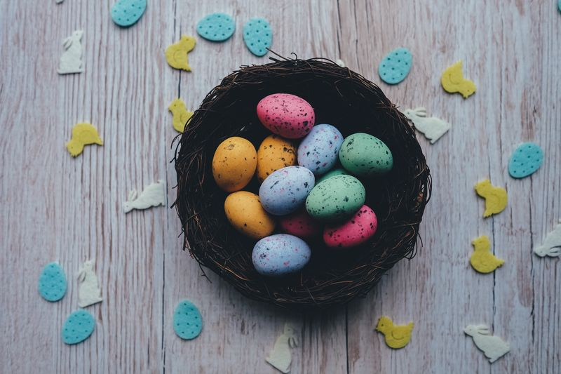 Photo of Eggs Multicolor in Basket