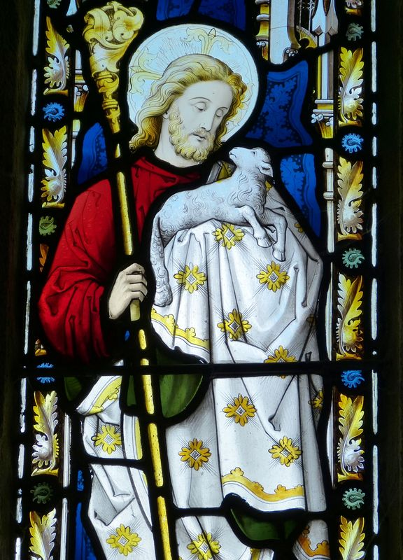 Photo of Jesus Holding Lamb Stained Glass