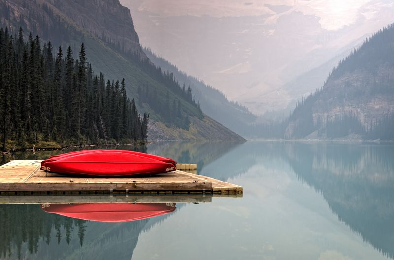 Photo of Canoes on Dock of Lake Louise