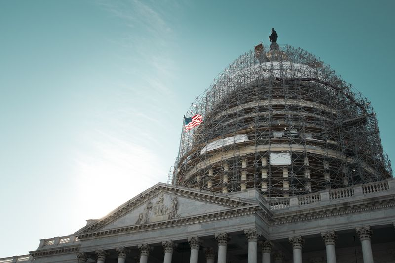 Photo of U.S. Capitol Building Under Construction